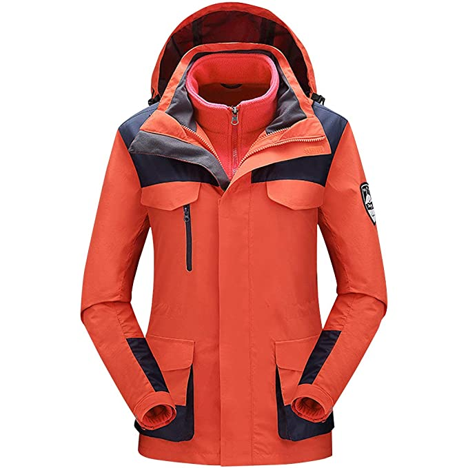 Zilee Chaqueta de Esquí al Aire Libre Caliente de Las Mujeres - Windbreaker Transpirable Abrigo de Nieve Impermeable Traje 3 en 1 Vellón Interior para ...