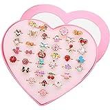 Formemory ペアリング 指輪セット 36個セット カップルリング かわいい おもちゃ 子供用 オープンリング フリーサイズ 混合様式 プレゼント パーティー ステンレス 女性 (指輪セット)