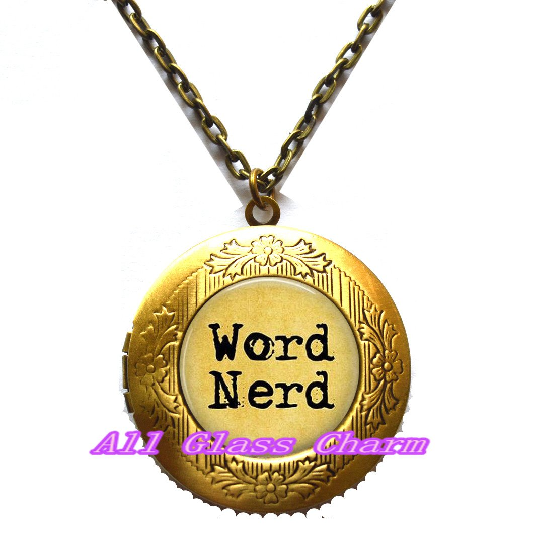 Back to School Jewelry,AS0175 Gift for Writer Word Nerd Locket Necklace Grammar Jewelry Writing Locket Necklace Beautiful Locket Necklace,Word Nerd Locket Pendant Love to Write