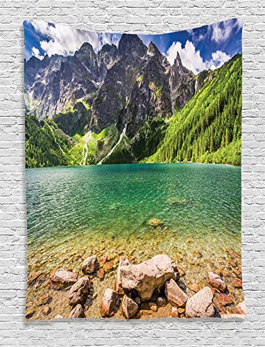 Ambesonne Lakehouse Decor Collection, Lake in the Middle of the Tatra Mountains Poland and Forest at Sunrise with Rocky Shore Picture, Bedroom Living Room Dorm Wall Hanging Tapestry, Green Teal Blue