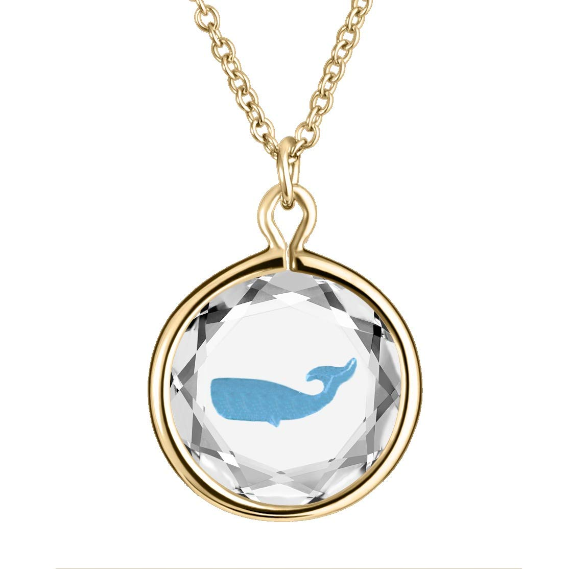 LovePendants Necklace or Charm in Swarovski Crystal with Enameled WHALE Engraving in Sterling-Silver