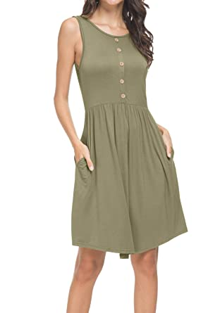 6598edf90d39 Womens Summer Casual Loose Pleated Swing T-Shirt Dress with Pockets Army  Green S