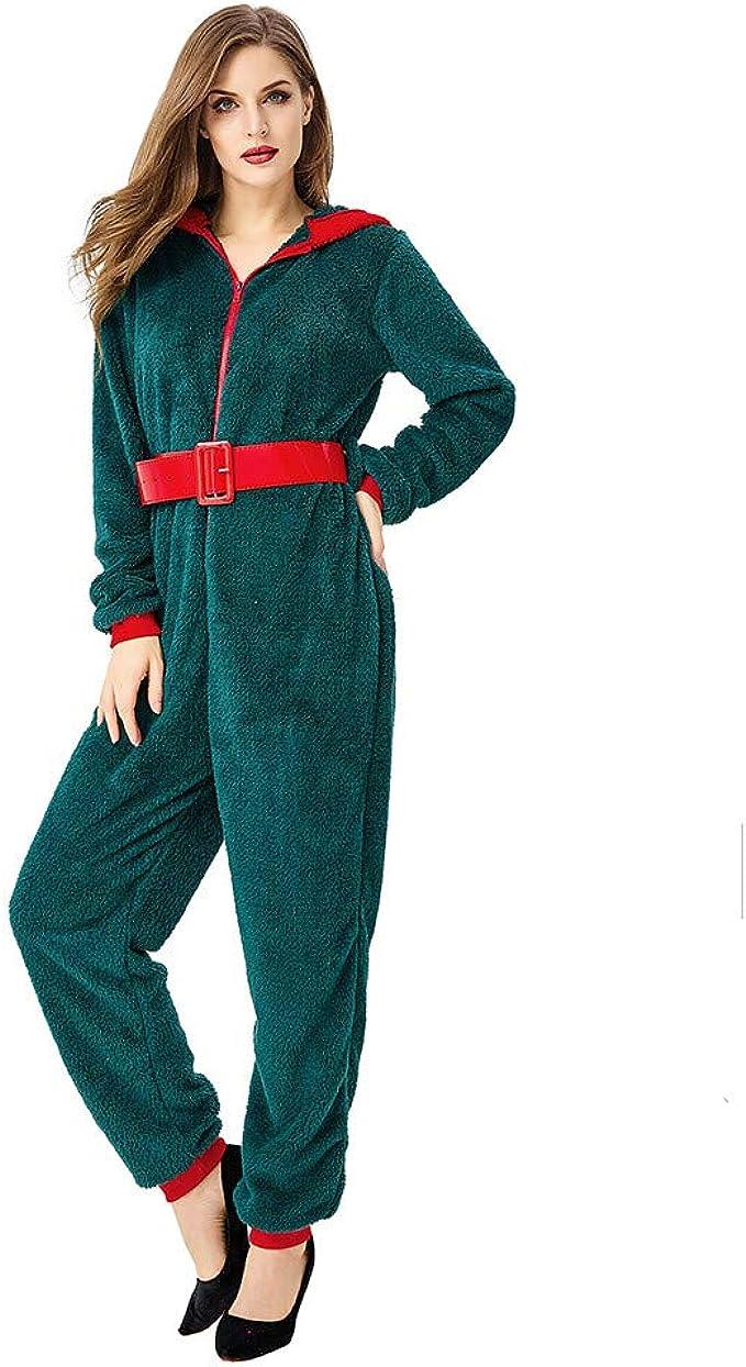 FRAUIT Damen Weihnachtsjumpsuit Weihnachten Gedruckte Kapuzen Schlafanzug Overall Strampelanzug Schlafoverall Hoodie Onesie Jogger Einteiler Overall Jogging Anzug Trainingsanzug