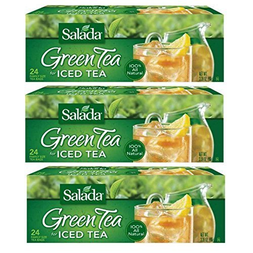 Salada Green Tea For Iced Tea - Family Size 24 Count Tea Bags - 3 Pack