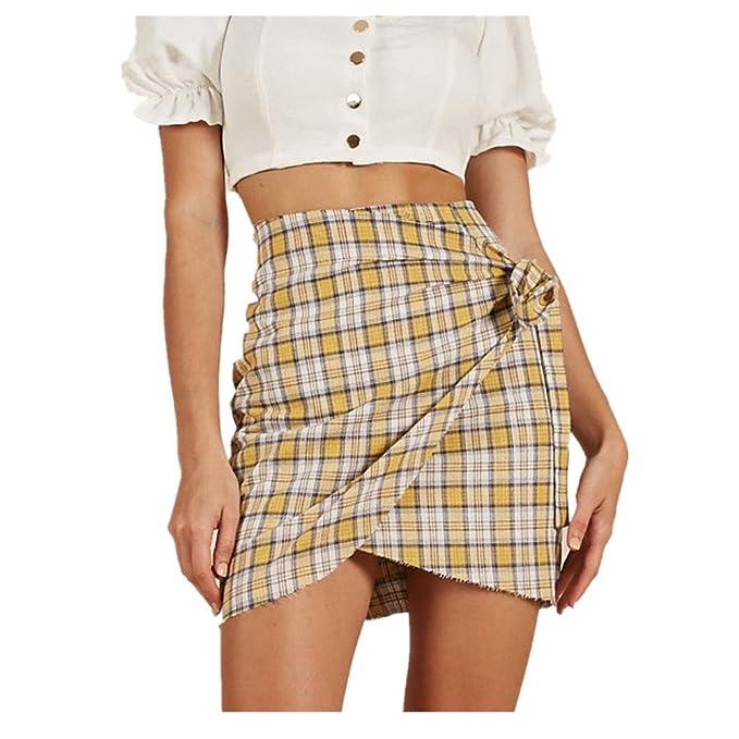 Sannysis Mujer Cintura alta Enrejado de la raya Moda Uniforme Minifalda Falda Vestir Mujer Falda Plisada Mujer Vestidos Minifalda Mujer Tops Mujer Verano: ...