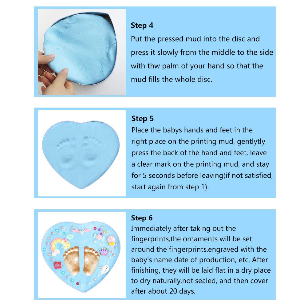 mifengda Baby Handprint Kit Footprint Ornament Kit Blue Baby Ornament Keepsake Kit Best Baby Shower Gift for New Mothers Fathers Newborn Girls & Boys, Baby Shower Gifts