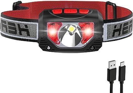 Tinzzi ヘッドライト 充電式 センサー検知 赤&白LEDライトの画像
