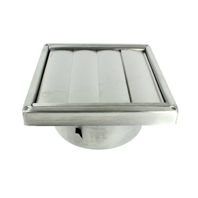 Spares2go quadrato dellacciaio inossidabile esterno Extractor parete Vent uscita con Gravity Flaps 150mm, 6