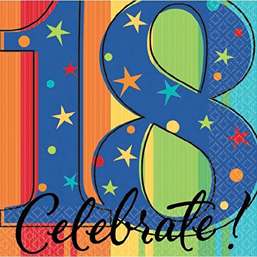 Amscan 18th Birthday Party Stars and Rainbow Beverage Napkins Tableware, 16 Pieces, Made from Paper, Multicolor, 5