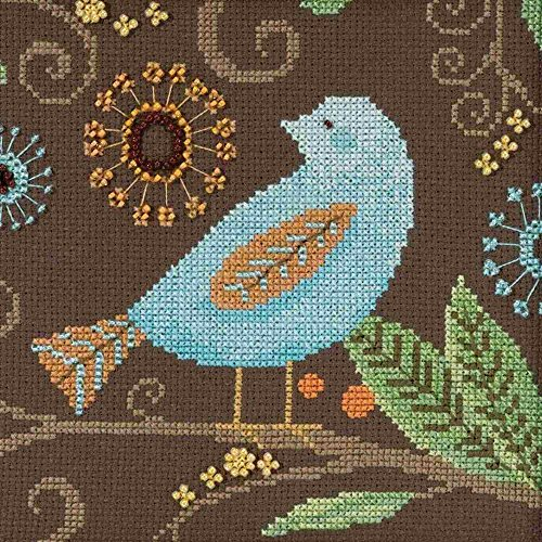 Debbie Mumm Collection - Aqua Bird Beaded Counted Cross Stitch Kit Mill Hill 2018 Debbie Mumm Out On A Limb Collection DM301814
