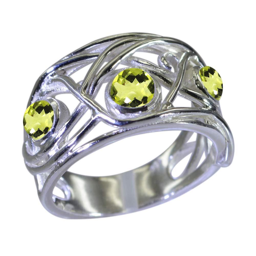 Jewelryonclick Bague en Argent pour Femme avec Pierres Naturelles Rondes et Naturelles