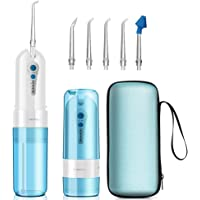 Water Flosser Cordless,KOOVON Portable Rechargeable Oral Irrigator With 4 Modes(include nose clean) & 5 Jet Tips,IPX7 Waterproof,Travel Bag (Water Flosser)