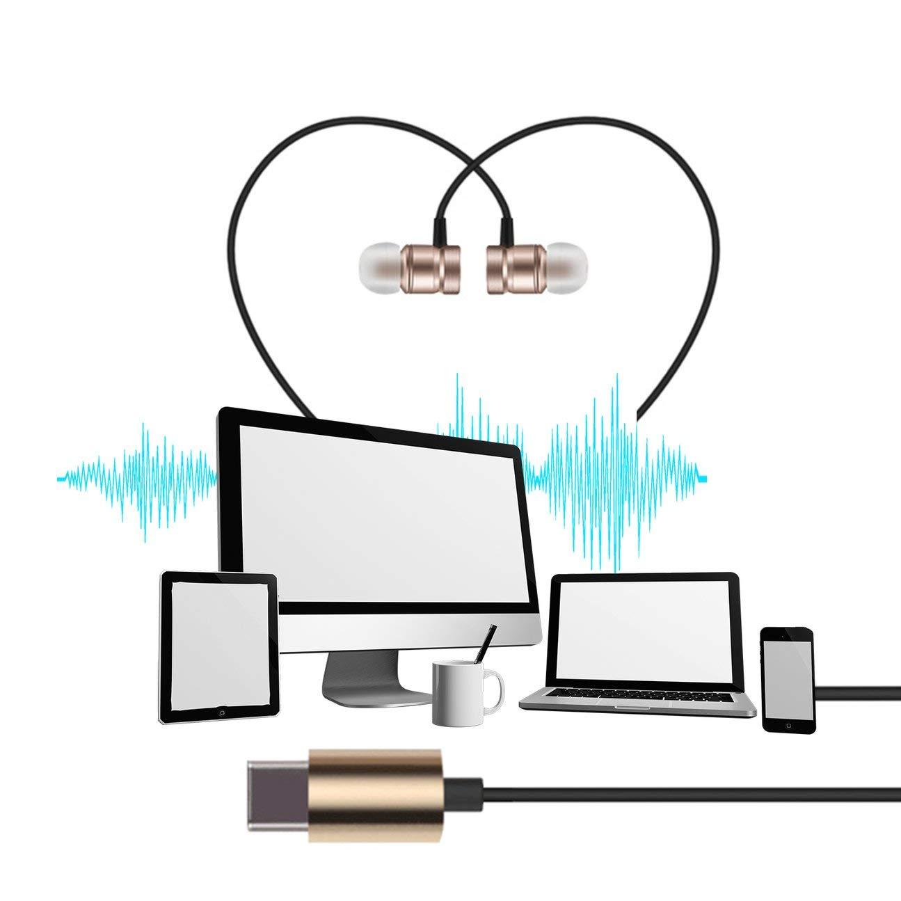 MachinYesity USB Type-C Auricolare in-Ear in Metallo con Microfono con Auricolari per Auricolari cablati per Letv