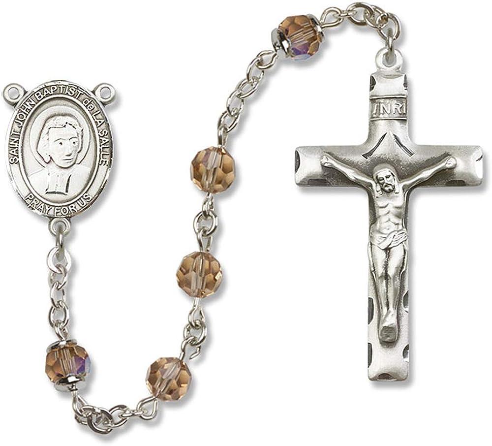 Austrian Tin Cut Aurora Borealis Beads 6mm Swarovski John Baptist de la Salle Center is the Patron Saint of Educators//Teacher St All Sterling Silver Rosary with Topaz