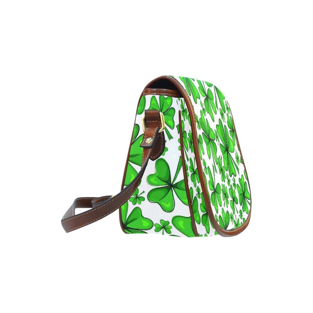 Custom Print Saddle Crossbody Four Leaf Clover And Green Shamrock Messenger Shoulder Bag Purse