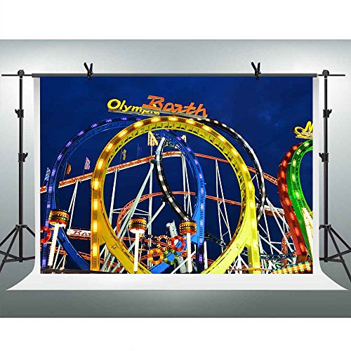 Roller Coaster Photography Backdrop FHZON 7x5ft Amusement Park Children Background Themed Party YouTube Backdrops Photo Booth Studio Props XCFH235]()