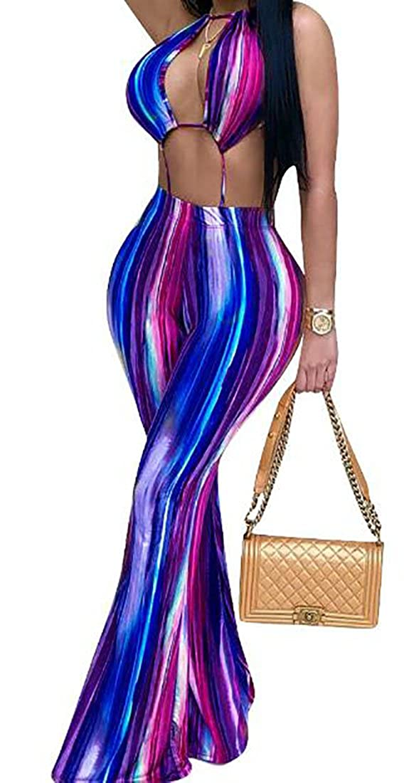 WANSHIYISHE-Women 2 Piece Summer Halter Bell Long Pants Jumpsuit Rompers Outfits