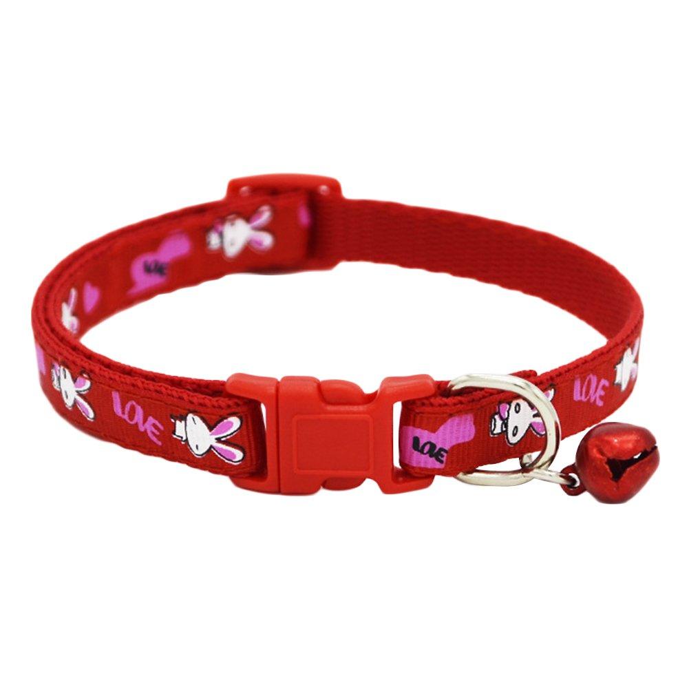 Sundatebe collare per gatto o cucciolo di cane in nylon collare per animali domestici con fantasia a coniglietti con fibbia regolabile colorato
