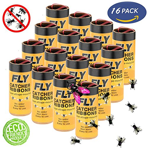 LENKA Best Fly Paper, Sticky Fly Strips, Portable & Effective Flying Insect Killer for Indoor\Outdoor Use - 16 (Economical Filler Paper)