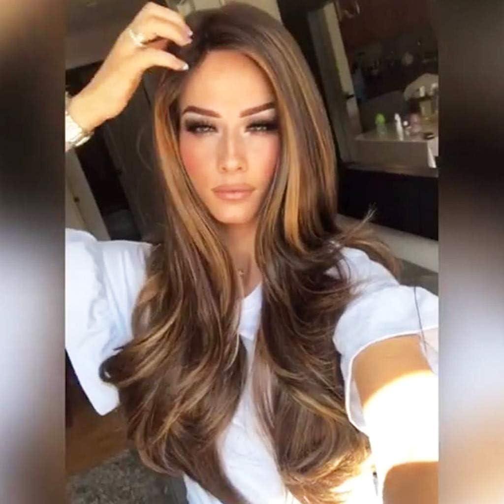 Gaddrt Pelucas largas rectas sintéticas cabello rubio de lino rubio dorado pelo sintético natural de la onda de la peluca de longitud de la parte de hombro: Amazon.es: Belleza