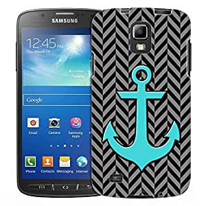 Samsung Galaxy S4 Active Case, Slim Fit Snap On Cover by Trek Anchor on Chevron Mini Pewte Black Case