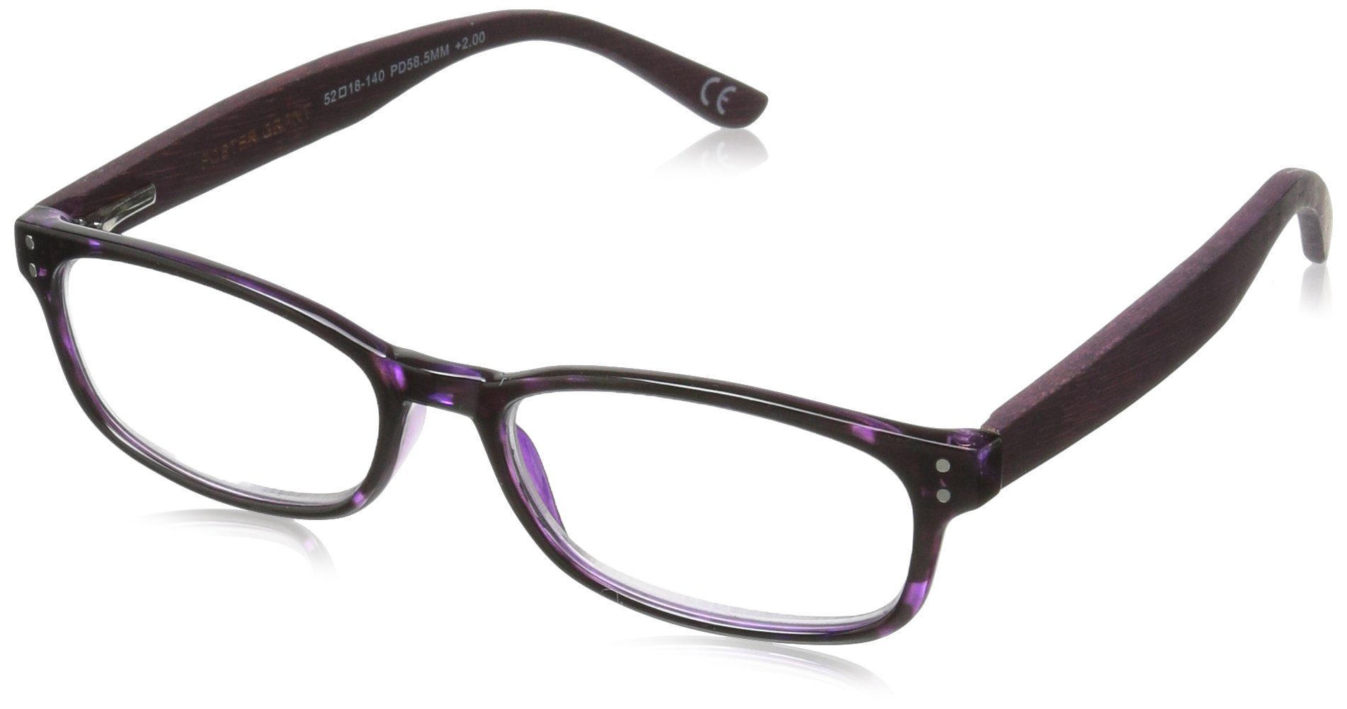 Foster Grant Women's Bernadette 1017561-125.COM Wayfarer Reading Glasses, Purple, 1.25