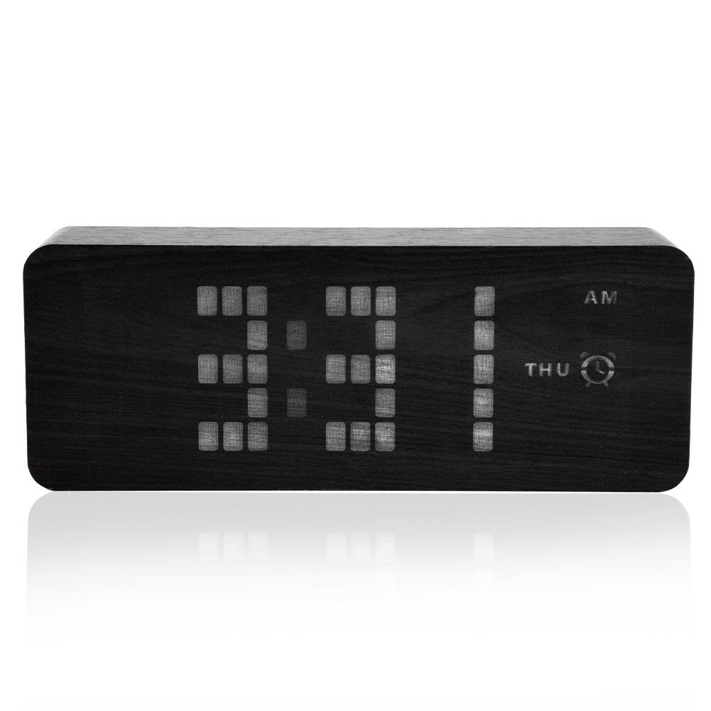 fosa Digital Alarm Clock, USB Wooden LED Alarm Clock Voice Sound Control Bedroom Alarm Clock Temp Date Display 12/24 Hour System Auto Brightness,Wonderful Gift (Black)