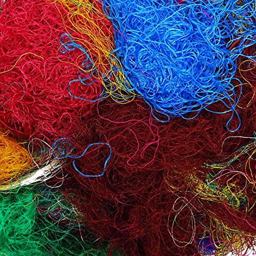 Saree Silk Fiber Multicolor Throwsters Waste for Felting, Spinning Fiber - 100 gm (3.52 oz)