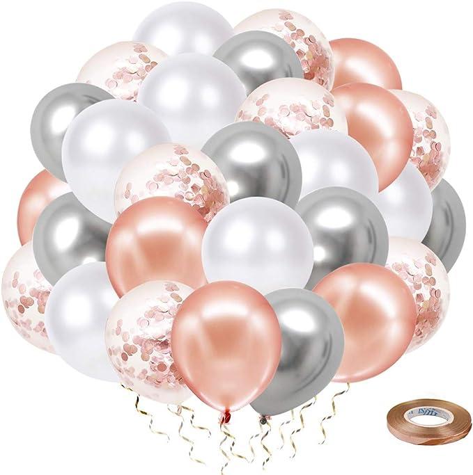 LIULIUKEJI 50 pi/èces ballons en or rose Bleu ballons confettis pour d/écorations de noce valentine