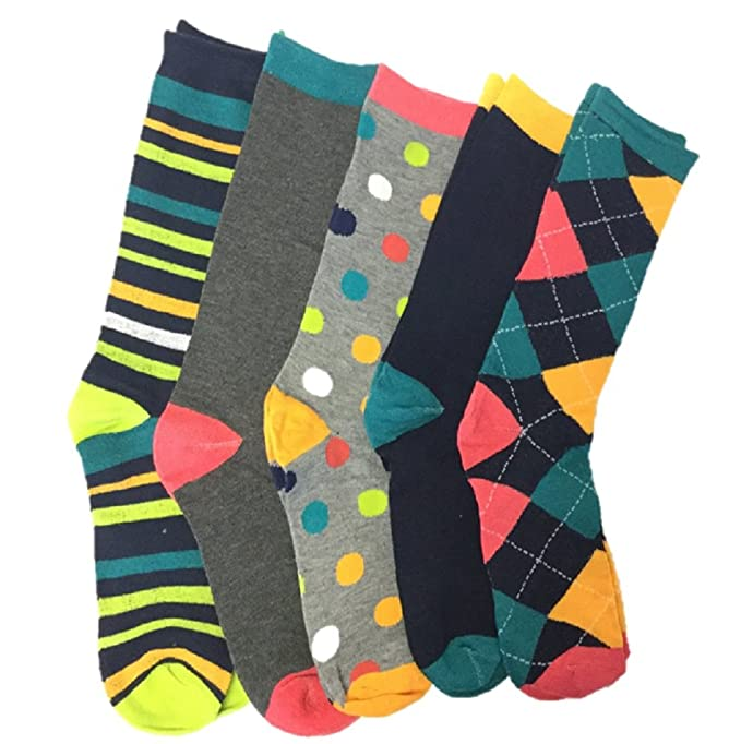 5 Pack: John Weitz Casual Sock Collection: Mens Dress Socks - Gift Package