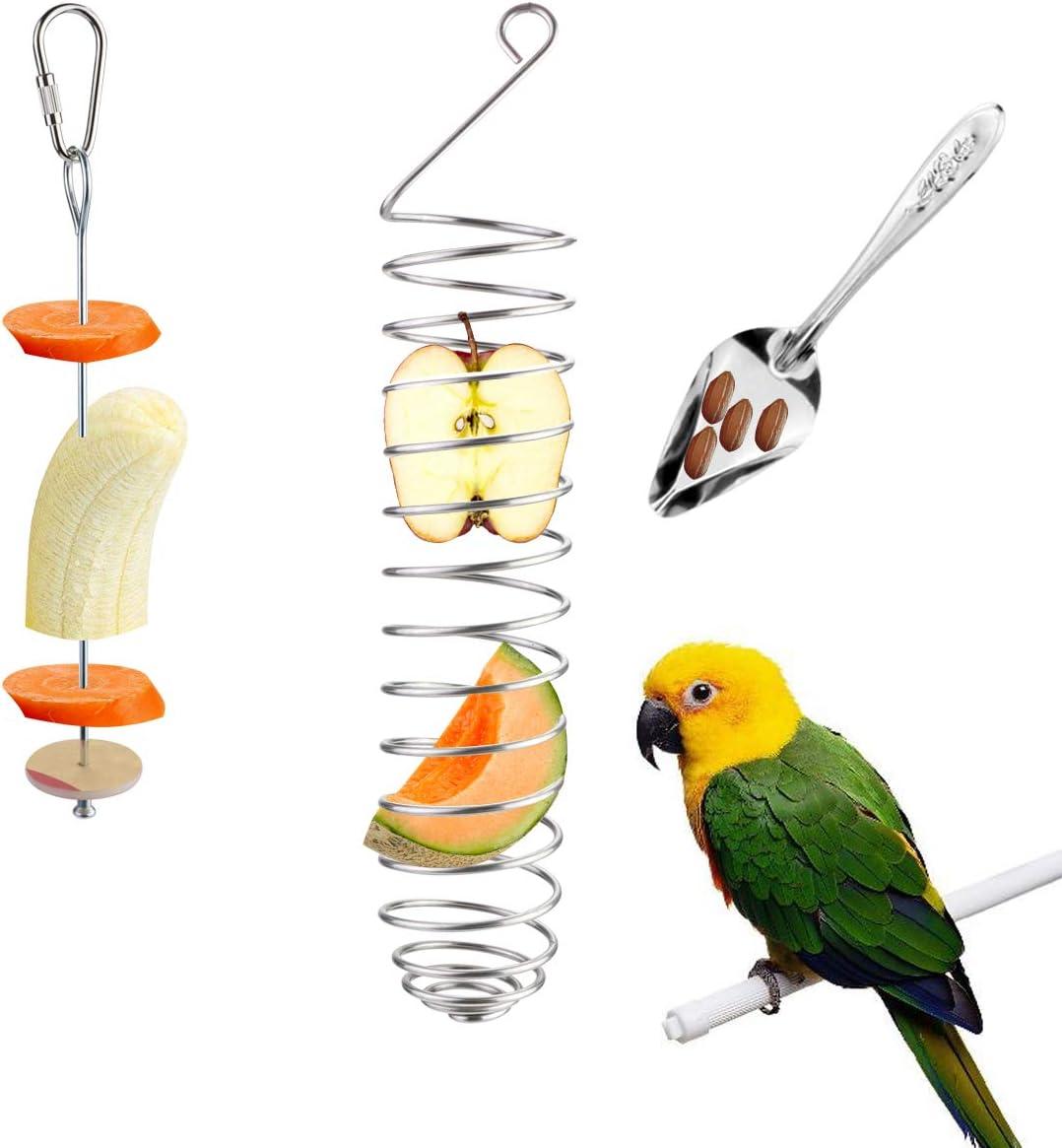 LeonBach 3 Pack Bird Food Holder Set, Stainless Steel Bird Feeding Spoon Millet Holder Foraging Toys for Parrots
