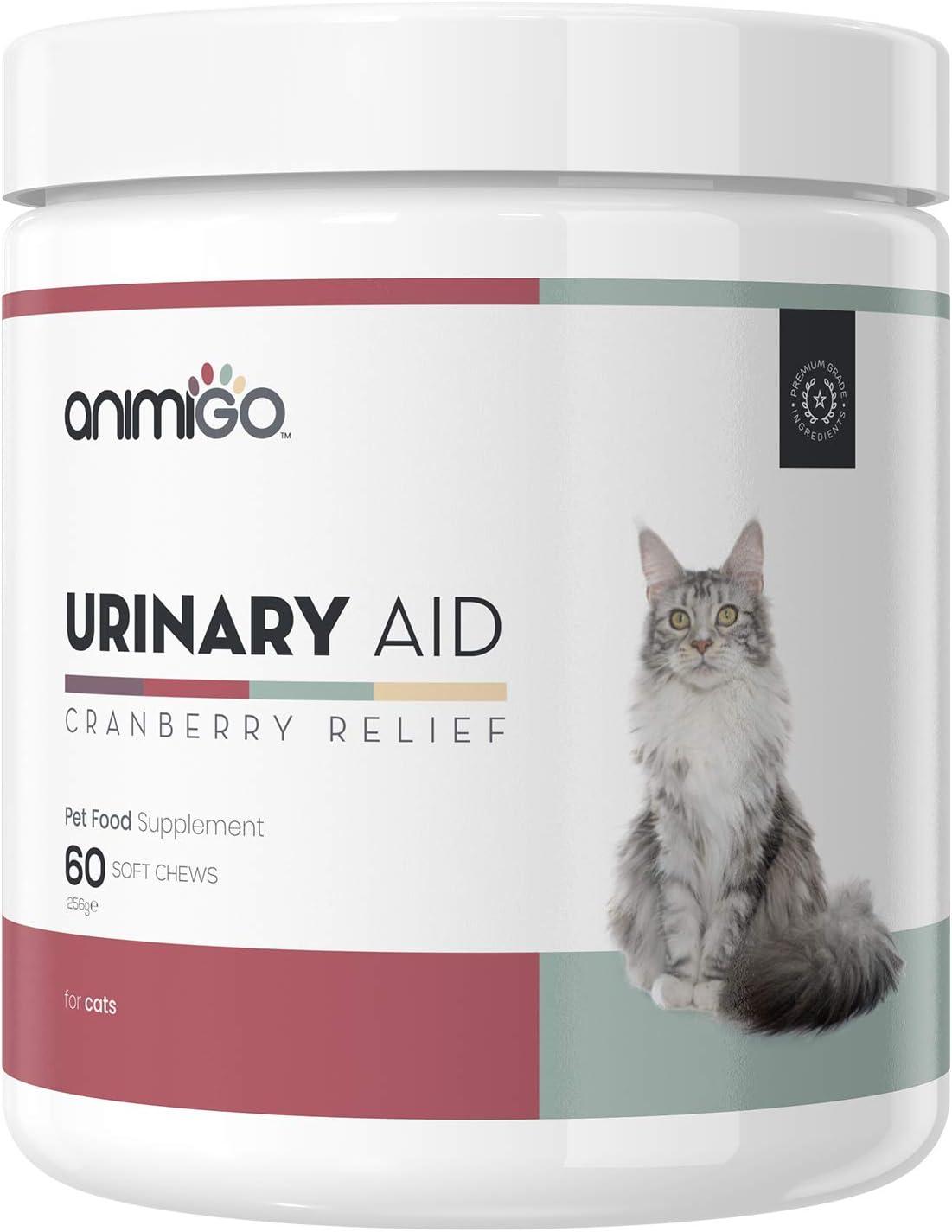 Animigo Ayuda Urinaria para Gatos - Suplemento Natural para Mantener el Tracto Urinario y Proteger contra Infección de Orina - con Arándano, Equinácea, Levadura, Vitaminas y Minerales - 60 Cápsulas