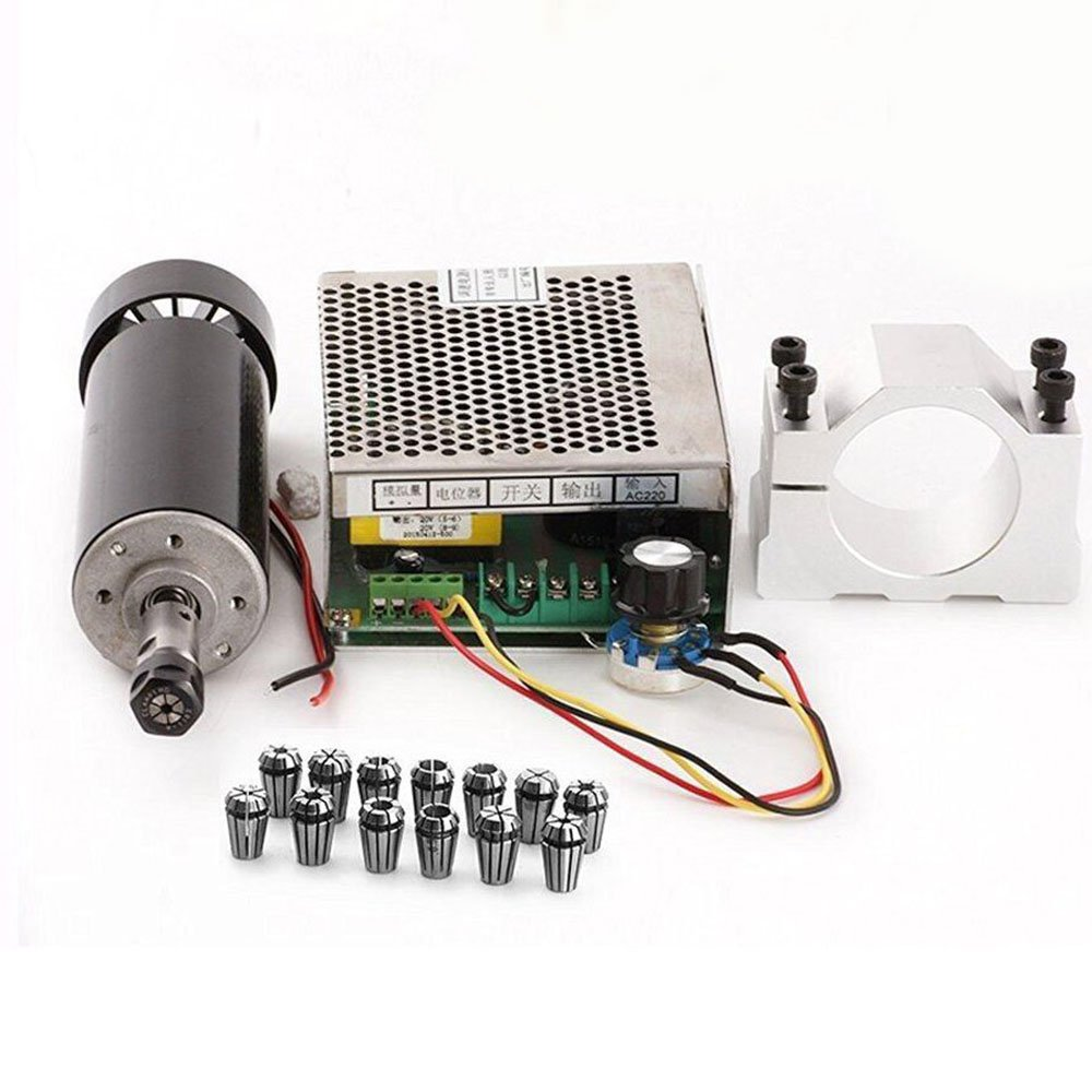 AC 110-220V 500W Air Cooling Spindle Motor with Adjustable Motor Speed Governor and 13 pcs ER11 Collets 1mm-7mm and Mounting Bracket(52mm/2.05'' Hole Dia)