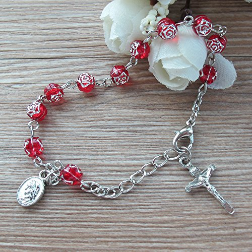 Confirmation Rosary Bracelet Favor (12PCS) Red Bracelet with Gift Bags for Guest