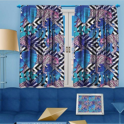 Mikihome Antique Decor Collection, Tropical Textured Wild Leopard Between Giant Plants Trendy Safari Blue Pink,Living Room Bedroom Curtain 2 Panels Set, 63