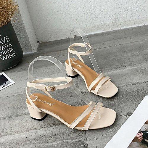 PU mujer Chunky confort exterior para verano Black sandalias de beige el Zapatos de talón negro ZHZNVX E4tHq