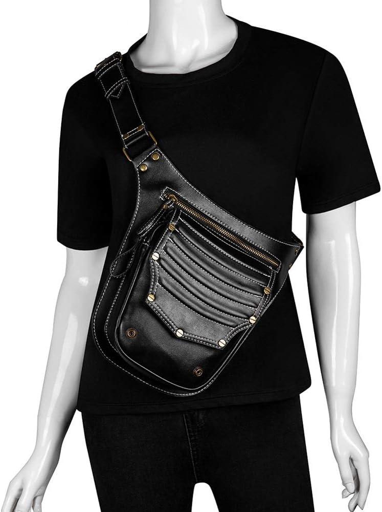 YLYWCG Unisex Punk Steampunk Hip Bag Pack, Sport PU Leather Steampunk Paquete De Cintura Gothic Fanny Pack- Cinturón Ajustable Ajustable Bolsa de Bolsillo para Hombre/Hombre: Amazon.es: Deportes y aire libre