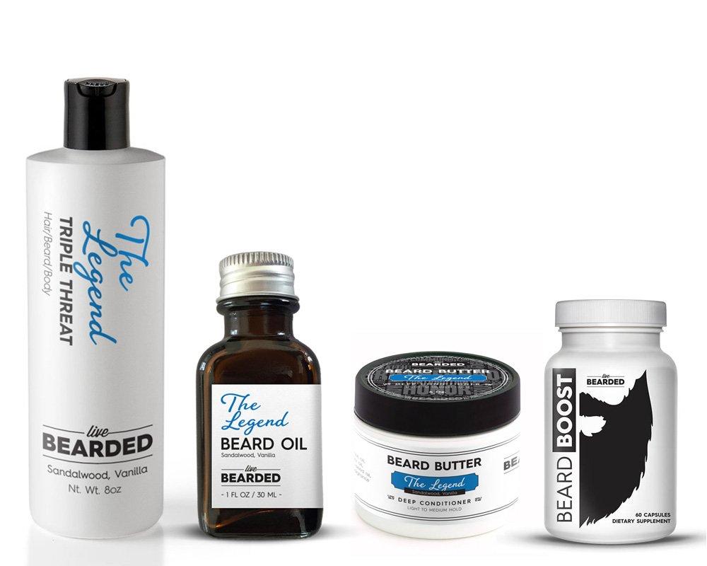 Beard Kit - Growth Pack | Beard Oil, Beard Butter, Beard Wash, and Beard Growth Vitamin | The Legend