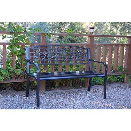 50-inch Flowers and Bird Curved Back Steel Park Bench For Sale