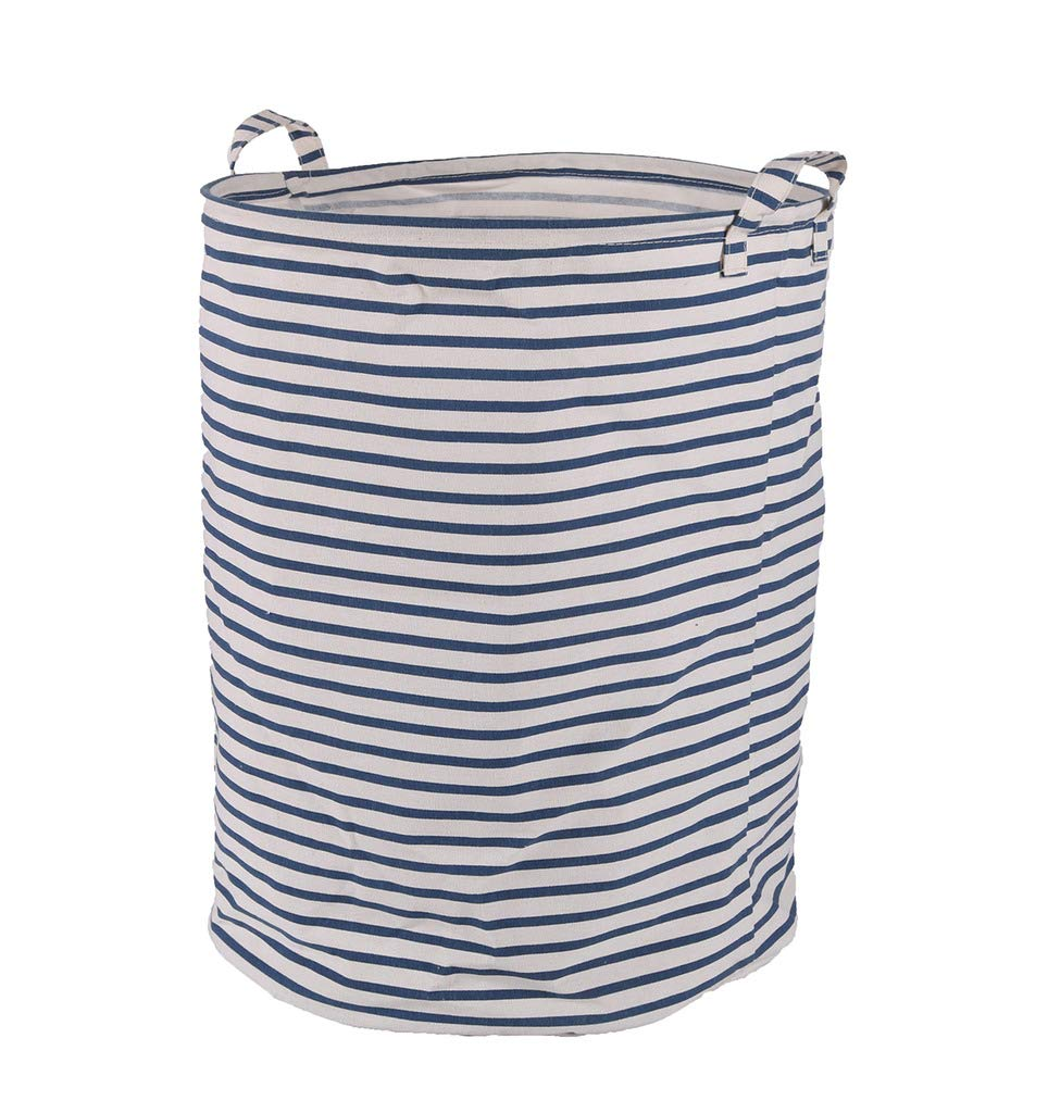 Seafowl Large Laundry Basket Foldable Tarpaulin Fabric with Handle Storage Basket (Black and White Stripes) 19.7''x 15.7''