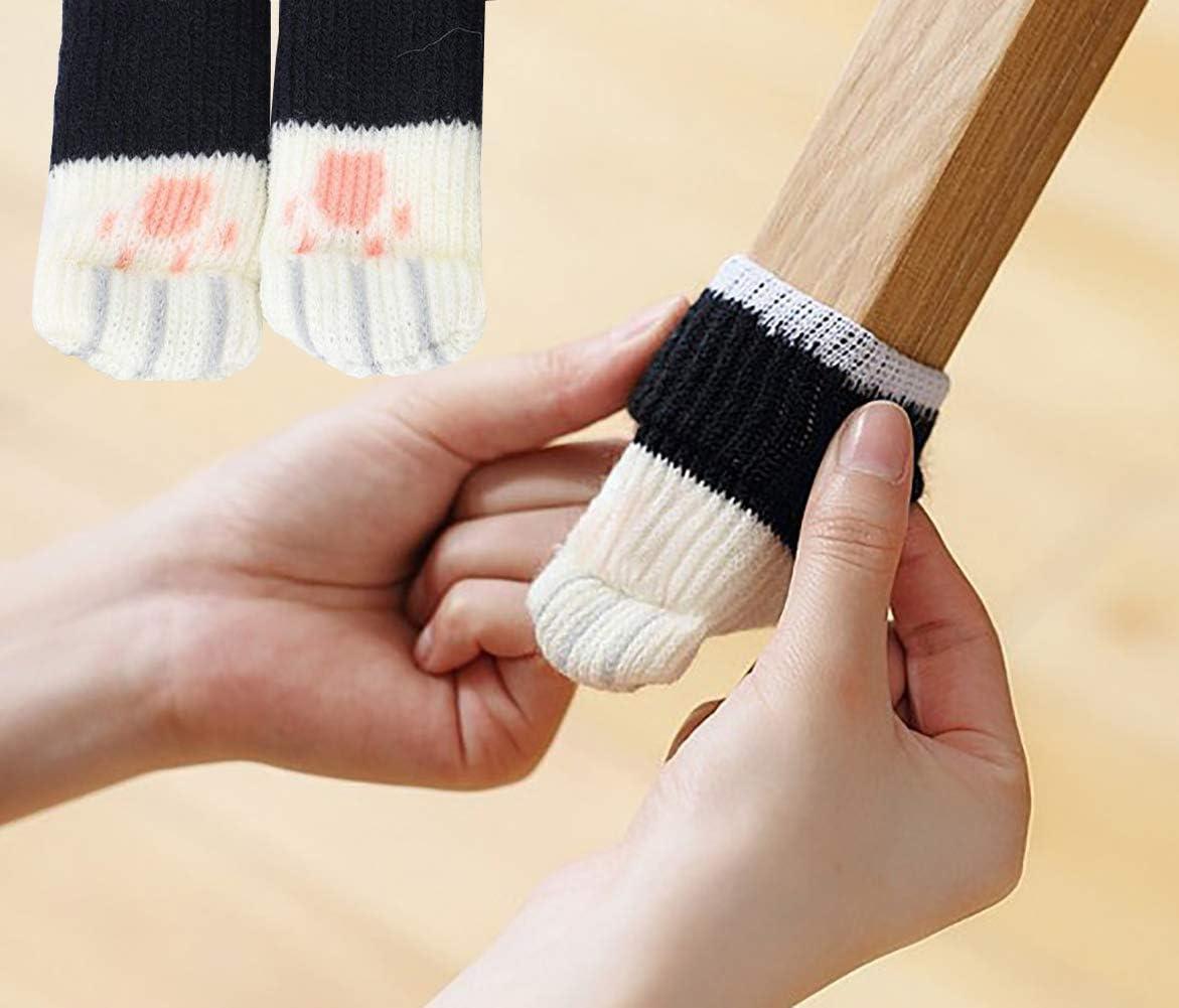 UrsoKuz 24PCS Chair Socks High Elastic Floor Protectors Non Slip Chair Leg Feet Socks Covers Furniture Caps Set Fit Girth from 2.7 to 7 Knitted Furniture Socks Grey