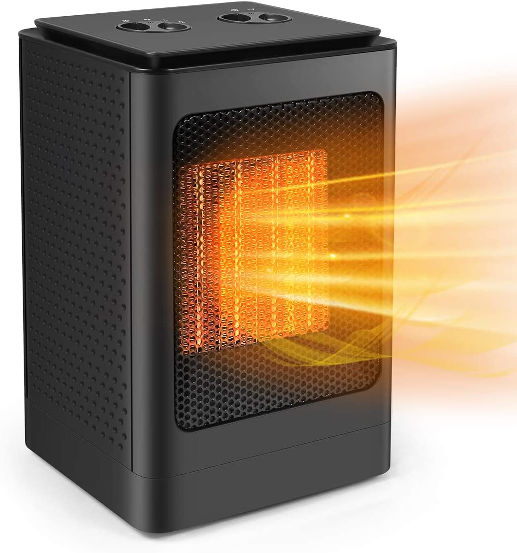 Space Heater, Portable Electric Heater Fan with Adjustable Thermostat, 3 Heat Settings, Quick Heat-up, Ultra Quite, Auto- Oscillation for Office Table Home Dorm