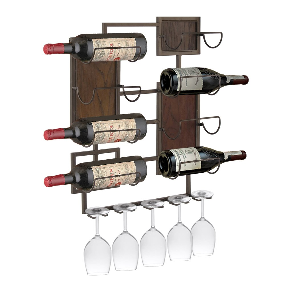 Design Mode 32-134LWD 20 x 24 in. Metal & Wood 8 Bottle & 5 Glass Wall Mount Wine Storage Rack