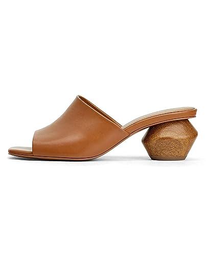 a594e19e8bb Zara Women s Leather Mules with Geometric Wood-Effect Heel 2324 001 (2 UK