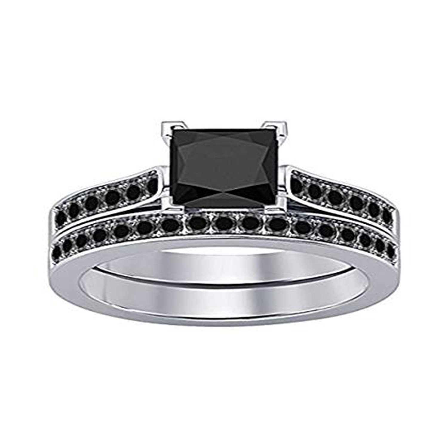 Engagement Wedding Ring with Band 14K White Gold Fn Alloy Black /& Simulated Diamond Studded Jewellery