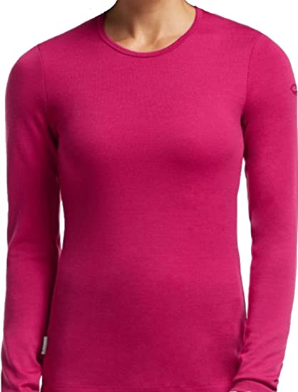 2d3bc8fdd60 Amazon.com: Icebreaker Bodyfit 260g Thermal Merino Wool Cherub Pink Women's  Medium Tech Crew Neck Top: Sports & Outdoors