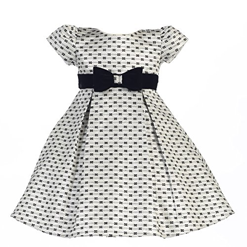 Price comparison product image Lito Little Girls Silver Velvet Sash Bows Jacquard Christmas Dress 6