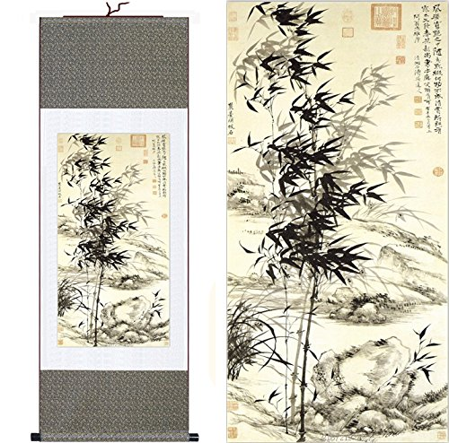 """MODEBESO(TM) Silk Chinese Painting bamboo Home Decorate Calligraphy Scroll Hanging Art Gift (H55"""" X W18"""") 55047"""