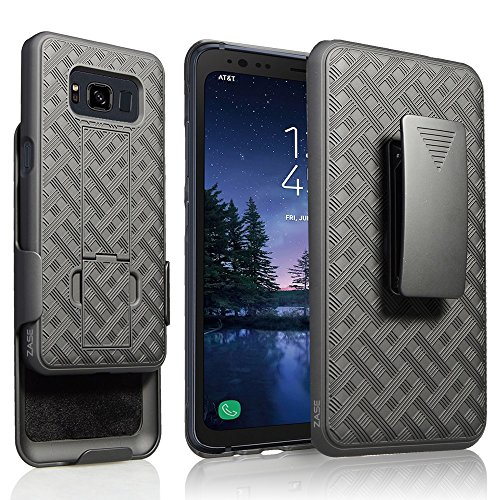 [Zase] Galaxy S8 ACTIVE Case (AT&T, Sprint, T-Mobile) Compatible w/ Galaxy S8 Active Tough Rugged Holster Armor Slim Protective Shell Defender Swivel Belt Clip [Kickstand] (Black Holster Combo Case)
