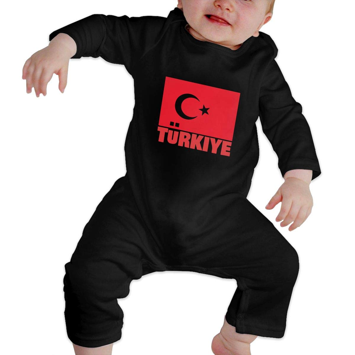 Warm Crescent Turkey Flag Cotton Newborn Baby Girls Boys Long Sleeve Bodysuit